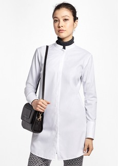 Brooks Brothers Cotton Dobby Stand-Collar Tunic