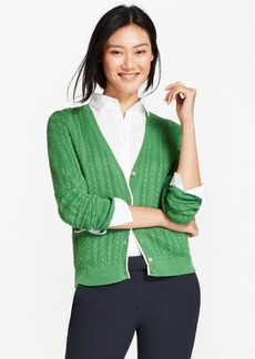 Brooks Brothers Cotton Pointelle Cardigan