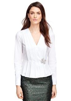 Brooks Brothers Cotton Stretch Pleated Peplum Shirt