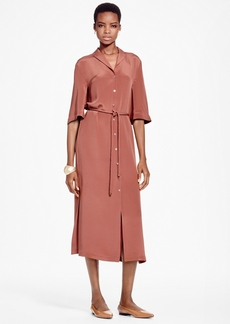 Brooks Brothers Crepe De Chine Silk Shirt Dress
