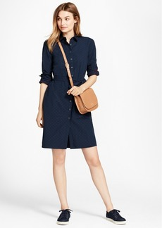 Brooks Brothers Dobby-Dot Cotton Shirt Dress