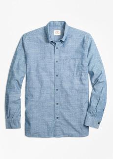 Brooks Brothers Dot-Print Cotton Chambray Sport Shirt