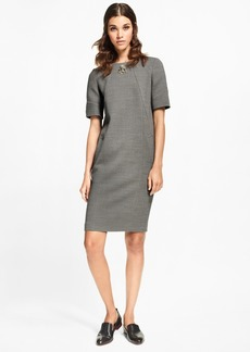 Brooks Brothers Double-Weave Stretch-Wool Shift Dress