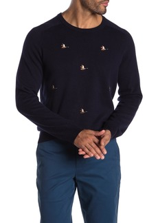 Brooks Brothers Duck Embroidered Crew Neck Sweater