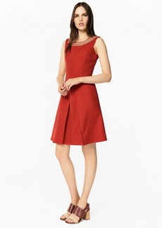 Brooks Brothers Embroidered Stretch-Cotton Jacquard Dress