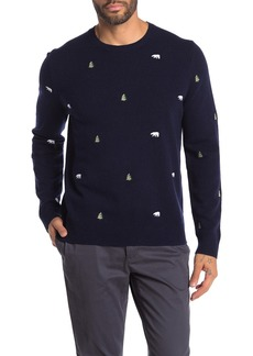 Brooks Brothers Embroidered Wool Blend Sweater