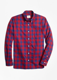 Brooks Brothers Exploded Gingham Brushed Cotton Flannel Sport Shirt