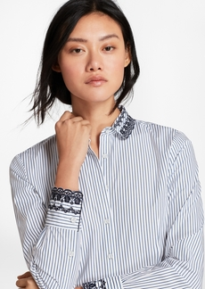 Brooks Brothers Eyelet-Embroidered Striped Cotton Poplin Shirt