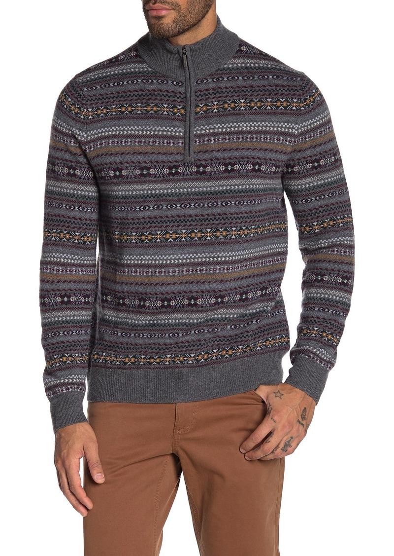 Brooks Brothers Fair Isle Wool Blend Half Zip Pullover