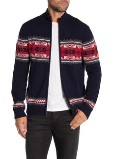Brooks Brothers Fairisle Wool Blend Full Zip Sweater