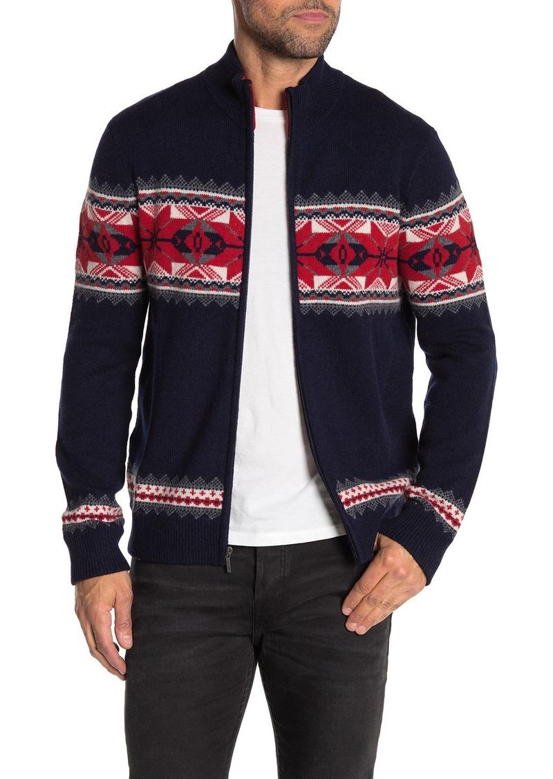 Brooks Brothers Fairisle Wool Blend Full Zip Sweater