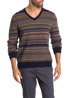 Brooks Brothers Fairisle Wool Blend V-Neck Sweater