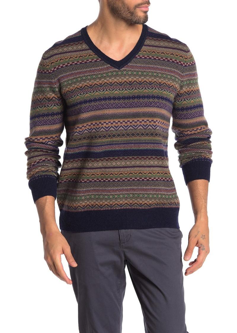 Brooks Brothers Fairisle Wool Blend V-Neck Sweater