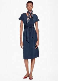 Brooks Brothers Faux Wrap Fit-and-Flare Dress