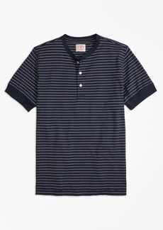 Brooks Brothers Feeder-Stripe Short-Sleeve Cotton Henley