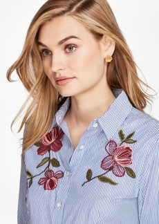 Brooks Brothers Floral-Embroidered Striped Cotton Poplin Shirt