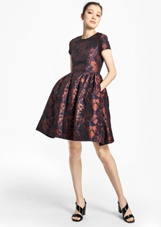 Brooks Brothers Floral Jacquard Fit-and-Flare Dress