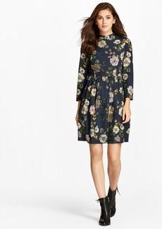 Brooks Brothers Floral-Print Crepe Mockneck Dress