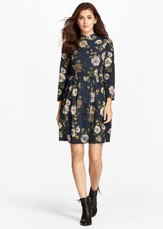 Brooks Brothers Floral-Print Crepe Mockneck Dress