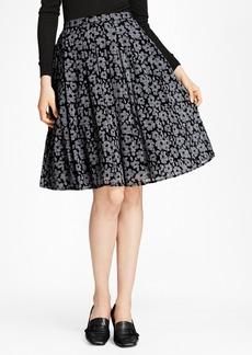 Brooks Brothers Floral-Print Glen Plaid Pleated Skirt