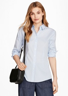 Brooks Brothers Floral-Print Stretch Cotton Gingham Shirt