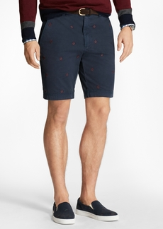 Brooks Brothers Foulard-Embroidered Stretch Cotton Twill Shorts