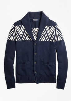 Brooks Brothers Geometric Shawl Collar Cardigan