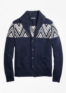 Brooks Brothers Geometric Shawl Collar Cardigan