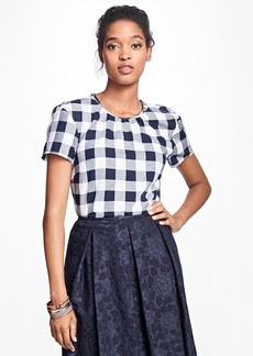 Brooks Brothers Gingham Cotton Twill Blouse