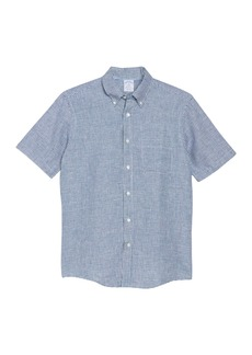 Brooks Brothers Gingham Short Sleeve Regent Fit Linen Shirt