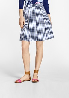 Brooks Brothers Gingham Stretch-Cotton Pleated Skirt