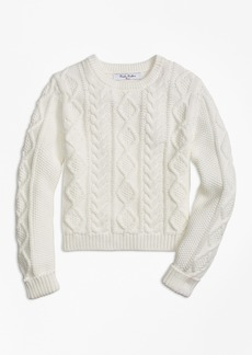 Brooks Brothers Girls Aran Cable Crewneck Sweater
