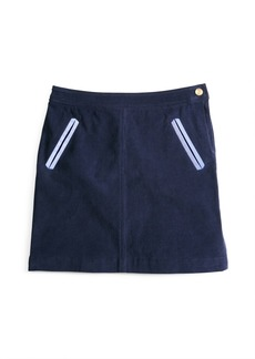 Brooks Brothers Girls Corduroy Skirt with Oxford Trim