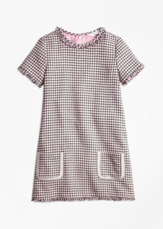 Brooks Brothers Girls Cotton Blend Houndstooth Tweed Dress