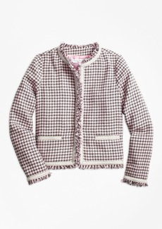 Brooks Brothers Girls Cotton Blend Houndstooth Tweed Jacket