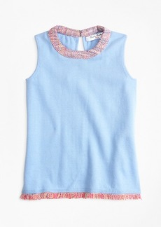 Brooks Brothers Girls Cotton Boucle Trimmed Tank