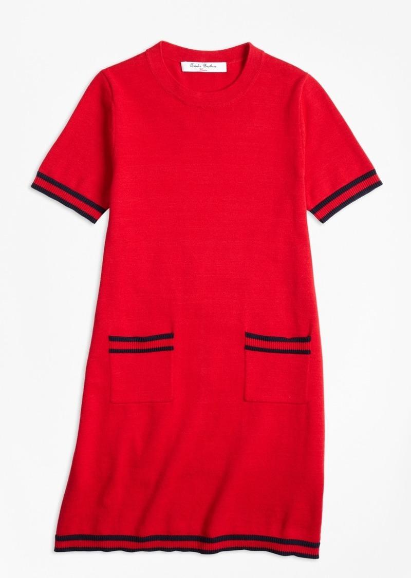 Brooks Brothers Girls Cotton Cap Sleeve Sweater Dress