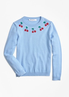 Brooks Brothers Girls Cotton Cherry Embroidered Sweater