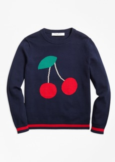 Brooks Brothers Girls Cotton Crewneck Cherry Intarsia Sweater