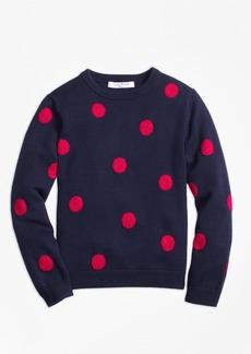 Brooks Brothers Girls Cotton Large Polka Dot Sweater
