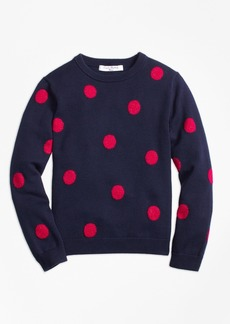 Brooks Brothers Girls Cotton Large Polka Dot Sweater