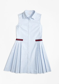 Brooks Brothers Girls Cotton Oxford Pleated Dress