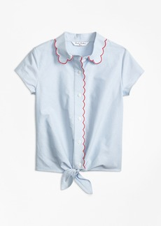 Brooks Brothers Girls Cotton Oxford Scalloped Trim Shirt