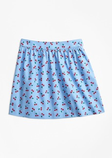 Brooks Brothers Girls Cotton Pique Tossed Cherry Print Skirt