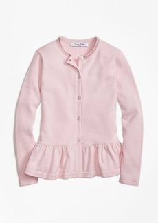 Brooks Brothers Girls Cotton Ruffle Hem Cardigan