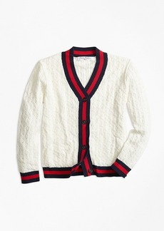 Brooks Brothers Girls Cotton Tipped Cardigan
