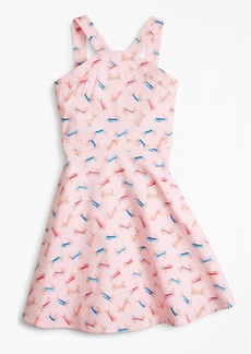 Brooks Brothers Girls Cotton Tossed Candy Print Dress
