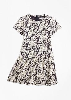Brooks Brothers Girls Knit Floral Jacquard Dress