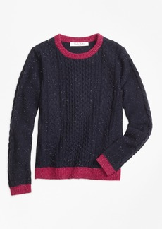 Brooks Brothers Girls Lambswool Fisherman Cable Crewneck Sweater