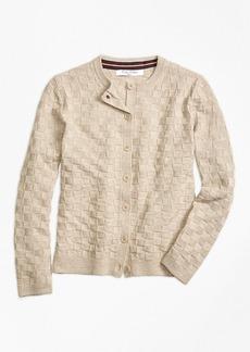 Brooks Brothers Girls Merino Wool Basketweave Cardigan